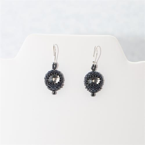 Black Seed Bead Woven, Clear Crystal, Short and Light, Elegant, Drop Earrings