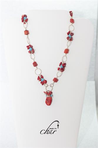 Sterling Silver Hoop Necklace with Natural Red Coral Stone Pendant and Turquoise Swarovski Crystals