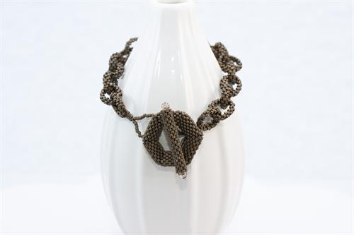 Bronze Color, Beaded Chain Link Bracelet