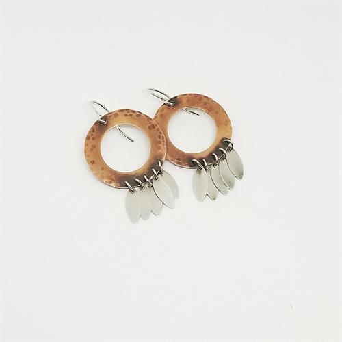 Copper and Sterling Fringe Earrings