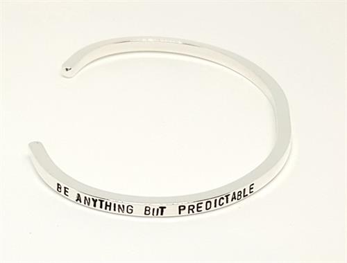 """Sterling Square Cuff """"BE ANYTHING BUT PREDICTABLE"""""""