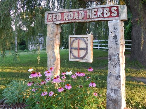 Kansas fencepost sign at Red Road Herbs