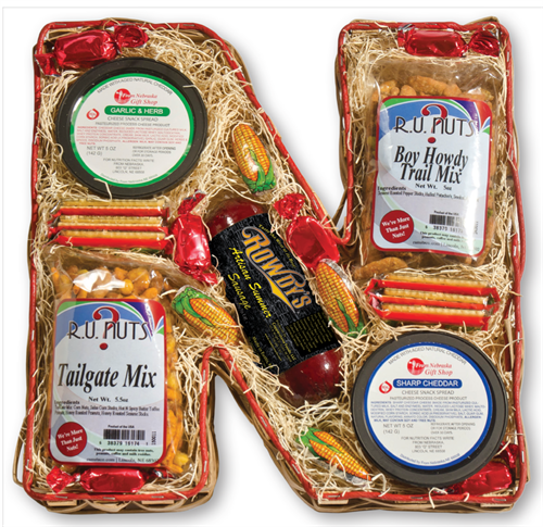 """N"" shaped Nebraska Foods Gift Basket"