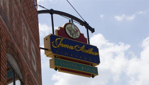 James Arthur Vineyards Tasting Room sign at From Nebraska Gift Shop