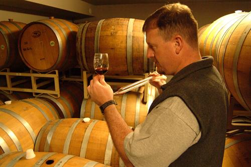 Owner/winemaker Jim Ballard in the barrel room.