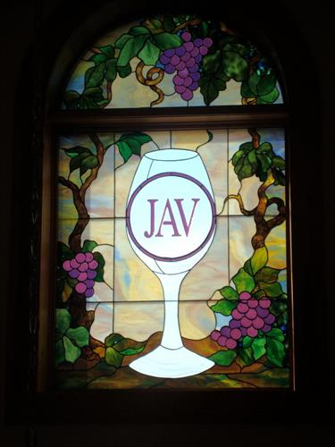 Stained glass window at the winery.
