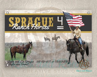 Sprague Ranch Horses banner from Rock and Rowel Creative Studio