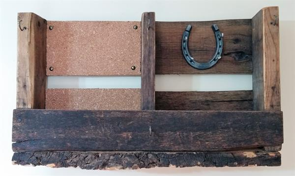 Upcycled Pallet Organier with Cork Board and Live Edge Ash Bottom