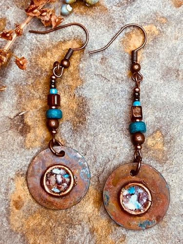 Beads & Patinaed Copper Disc Earrings