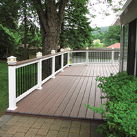 Deck with Wolf Decking and Vinyl Railing
