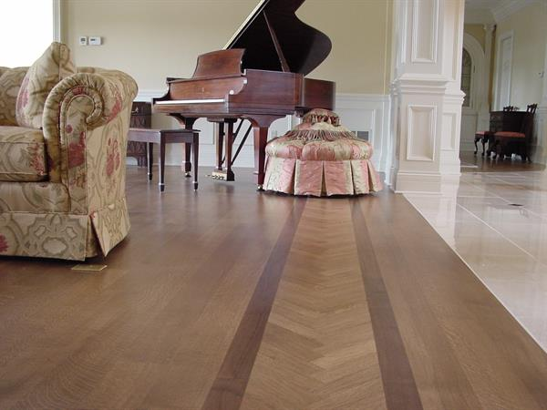 Clear Rift & Quartered White Oak with Walnut border.  When you truly want the best