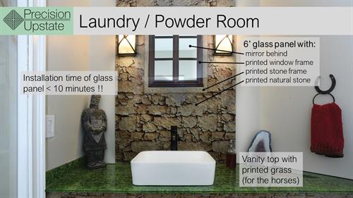 Printed Glass In Laudry Room/ Powder Room