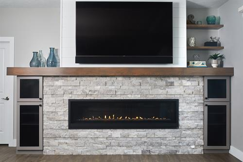 Transitional Condo Remodel- Living Room Fireplace