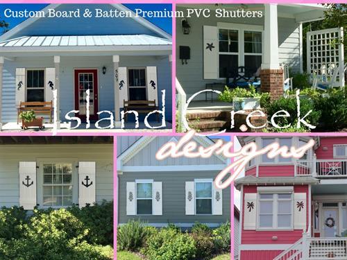 Custom PVC Board & Batten Style Shutters with Decorative Coastal Cutouts