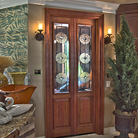 "Inspirations Showroom ""library doors"" - ""transitional design."""
