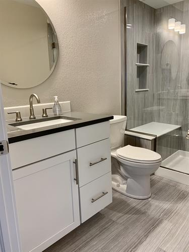 Bathroom paint and finishes (tile, counters, mirror)