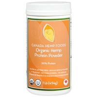 Our 454 (1LB) canister of Organic Hemp Protein Powder (50% Protein)