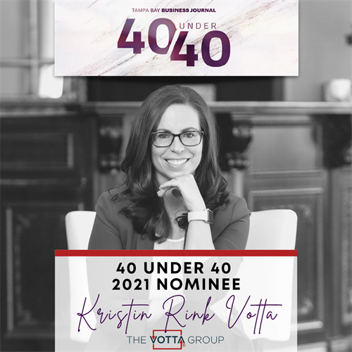 Kristin Votta nominated again for the 2021 Tampa Bay Business Journal's 40 Under 40 Awards