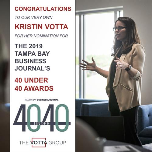 Kristin Votta nominated for the 2019 Tampa Bay Business Journal's 40 Under 40 Awards