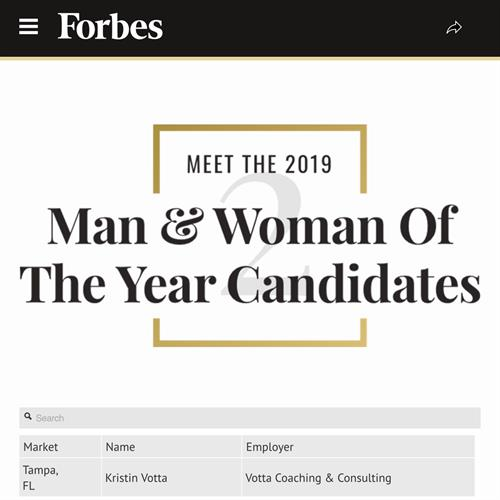 Listed in Forbes.com for being nominated the 2019 Woman of the Year - Leukemia & Lymphoma Society