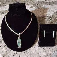 18 inch Sterling chain and turquoise mosaic oval pendant with matching mosaic earrings.