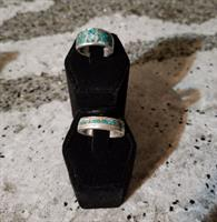 Size 6 and 7 Turquoise and silver mosaic rings,