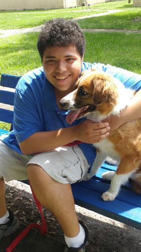 Teen trainer in Dog Training Program