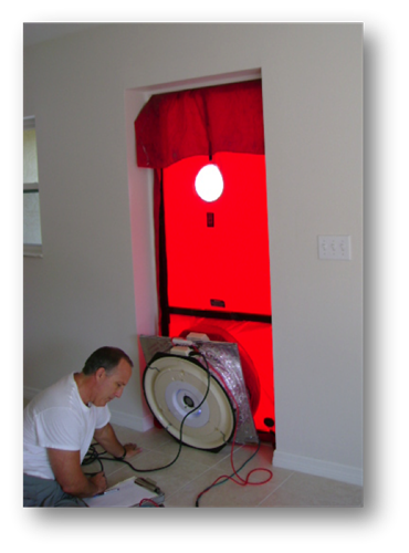 Blower door envelope-duct testing. Per FBC, all single families and multifamily (3 stories or less)