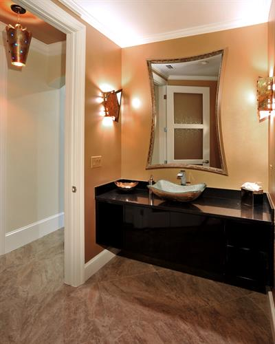 transitional powder bathroom