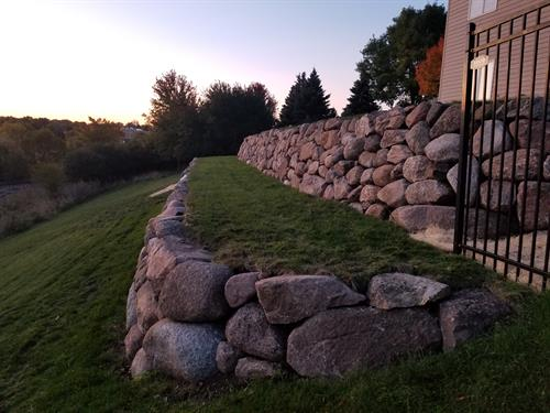 2 tier dry-stacked Fieldstone Retaining Walls
