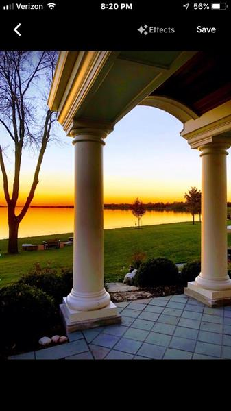 Lake Front Arched Porch with Terrific Sunset