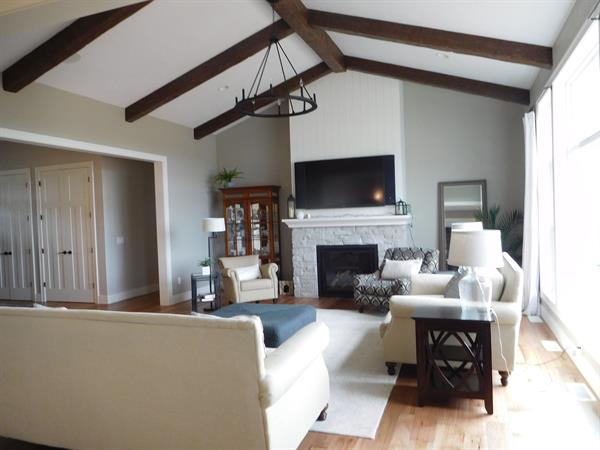 Great Room Cathedral with Accent Beams