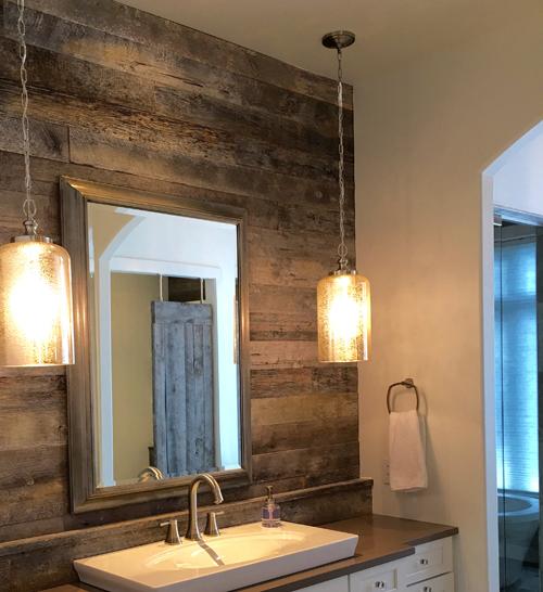 Reclaimed Wood Wall Cladding in Bathroom