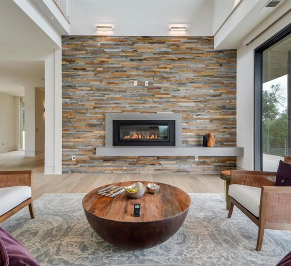 Natural Wood Wall Tiles on Fireplace