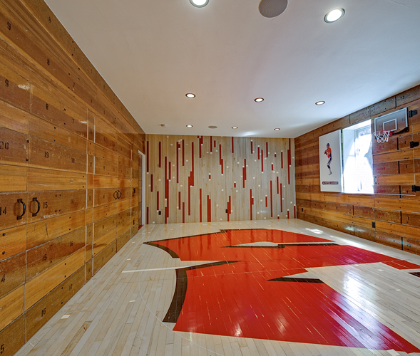 Reclaimed Gym Floor in Residence