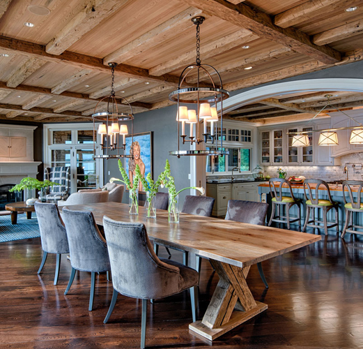 Reclaimed wood on ceiling, floors and dining table