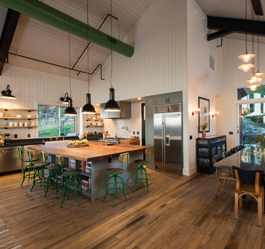 Factory Maple Flooring in Kitchen, Dining and Living Room