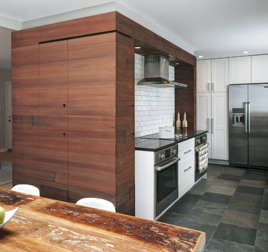 Reclaimed Redwood Cladding in Kitchen