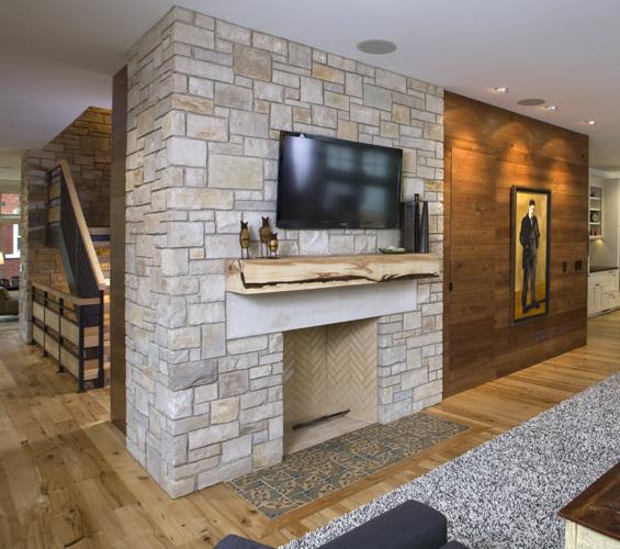 Reclaimed Walnut Paneling in Living Room