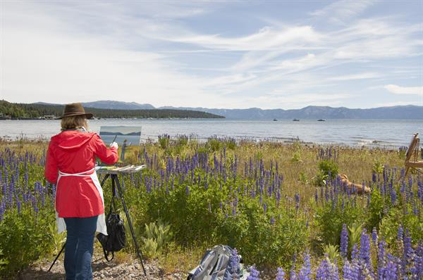 North Lake Tahoe Plein Air Open painter at Gatekeeper's beach 2016.