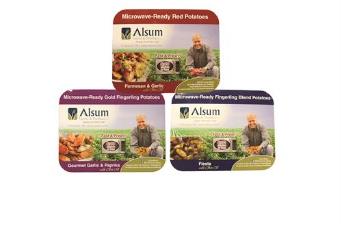 New 12. oz Fast & Fresh! Alsum Farms & Produce Microwave-Ready Creamer and Fingerling Potato Tray Products