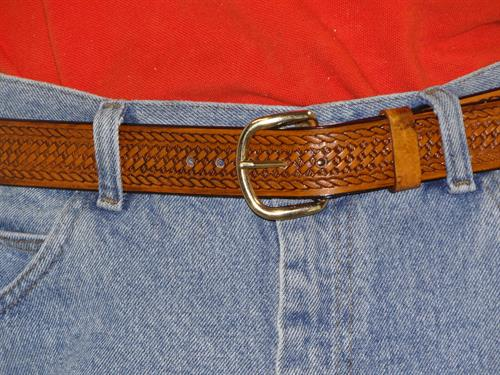 Mens belt embossed in lighter color