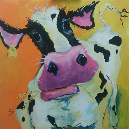 Bessie Whimsical cow paintings