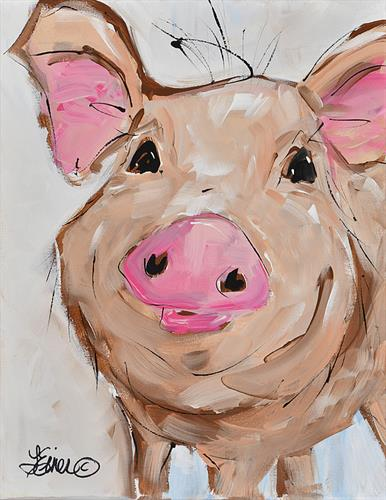 Sweetpea Whimsical pig paintings