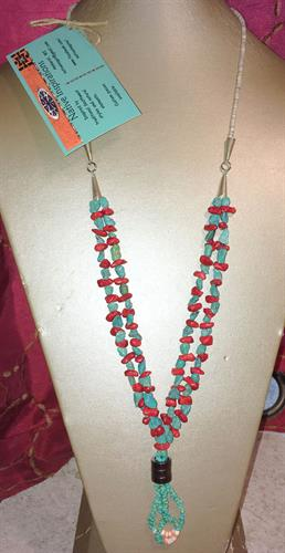 Turquoise/Coral Jacia Necklace