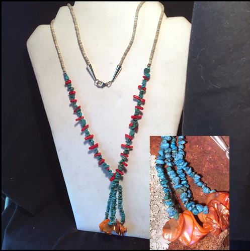 Turquoise/Coral/Shell Jacia Necklace-Vintage Materials