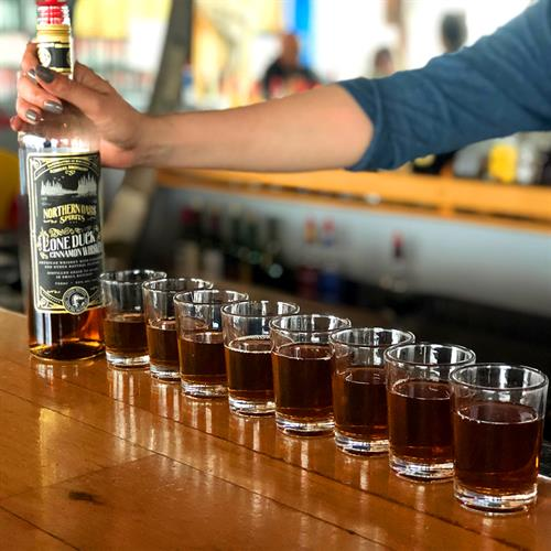 Line 'em up and knock 'em back! Lone Duck Cinnamon Whiskey is great as a chilled shot.