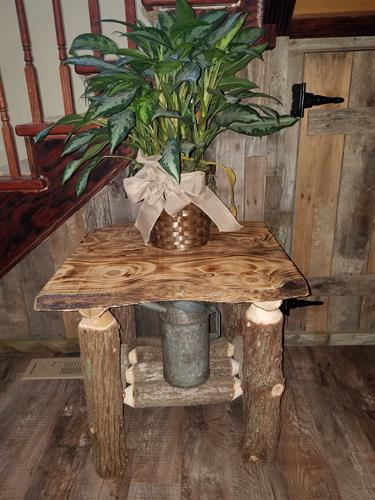 Log end table currently available $175