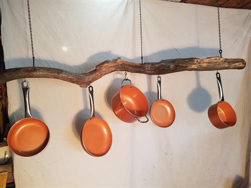 Oak pot and pan rack currently available $100 (pots and pans not included)