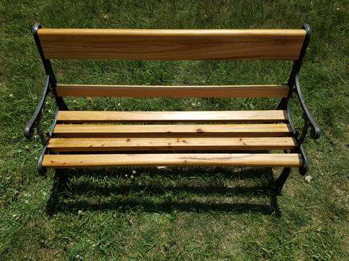 """36"""" kids park bench. 1"""" thick reclaimed cedar and repurposed sides. $115"""